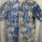 GO BAREFOOT SHIRT LARGE TALL TraditionReverse Print Button BLUES PALM FLORAL