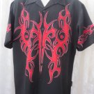 DRAGONFLY SHIRT Black Red Tribal Double Sided Print MEDIUM Rock Roll Bowl