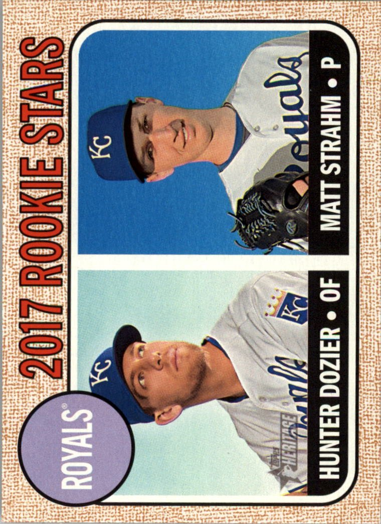 2017 Topps Heritage 203 Hunter Dozier RC/Matt Strahm RC