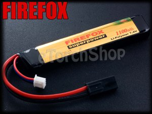 FireFox 7.4V 1100mAh 15C Li Po AEG Airsoft Battery 105mm x 20mm