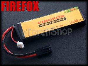 FireFox 7.4V 1600mAh 20C Li Po AEG Airsoft Battery S 103mm x 34mm