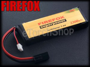 FireFox 7.4V 2300mAh 20C Li Po AEG Airsoft Battery 103mm x 34mm