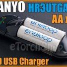 Sanyo 2 AA 3UTGA Eneloop 2000mAh PreCharge Battery With Mini USB LED Charger