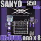 SANYO XX Eneloop 8 aaa 950mAh HR-4UWXB-4H Rechargeable PreCharged NiMH Battery