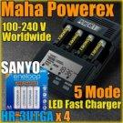 Maha PowerEx MH-C9000 Charger 4 x Sanyo Eneloop Battery