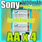 SONY CycleEnergy 4 AA 2100mAh PreCharged Rechargeable Ni-MH Battery Ready to Use
