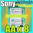 SONY CycleEnergy 8 AA 2100mAh PreCharged Rechargeable Ni-MH Battery Ready to Use