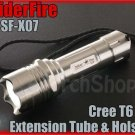 SpiderFire X07 Cree T6 LED Stainless Steel Flashlight Extension Tube Holster Set