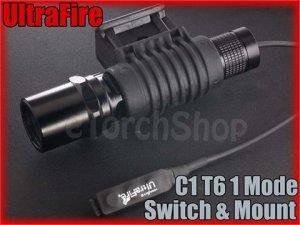 UltraFire C1 Cree XM-L T6 LED 1 Mode Flashlight With Mount / Pressure Switch Set