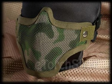 Protection Steel Face Mask S Woodland Camouflage Green