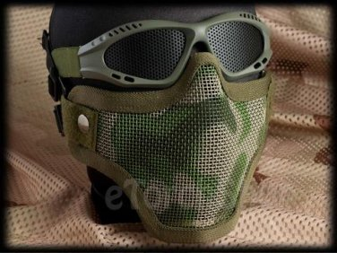 Protection Steel Face Mask with Mesh Goggles Woodland Camouflage Green set