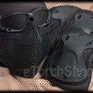 Protection Mesh Glasses Steel Face Mask Knee & Elbow X-Tak Pads SET (Black Color)