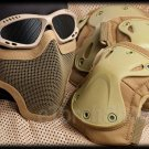 Protection Mesh Glasses Steel Face Mask Knee & Elbow X-Tak Pads SET (DT Color)