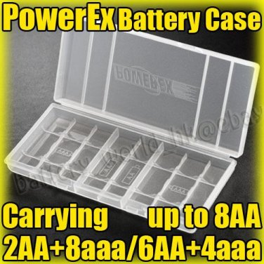 PowerEx Plastic Battery Carrying Case Holder f 8-cell AA aaa Sanyo Eneloop Sony