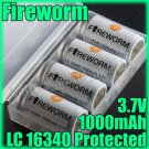 FireWorm 4 x 16340 1000mAh Protected Battery & case