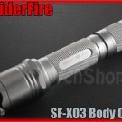 SpiderFire X03 Flashlight DIY Body Only Silver *Parts f Surefire 6P 9P*LED Torch