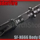 SpiderFire X666 Flashlight DIY Body Only Black*Parts f Surefire 6P 9P* LED Torch