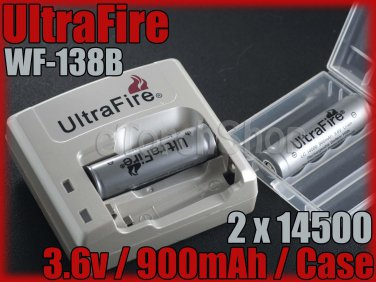 Ultrafire 138B Charger 2x 14500 AA size battery combos