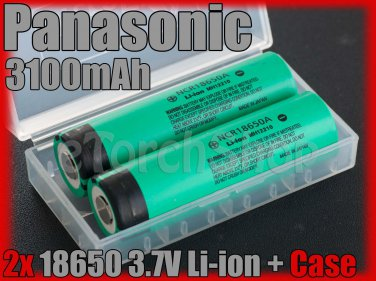 Panasonic 2x NCR18650A 18650 3100mAh Li-ion Rechargeable Battery w Case Japan