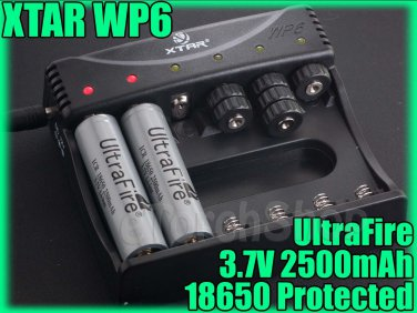 UltraFire 2x 18650 P Battery XTAR 6 Bank Charger WP6 II