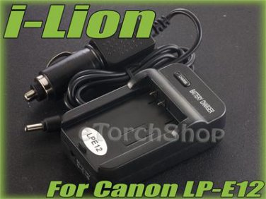 i-Lion LP-E12 Charger F Canon Battery Worldwild 100-240V US Plug W Car Adapter