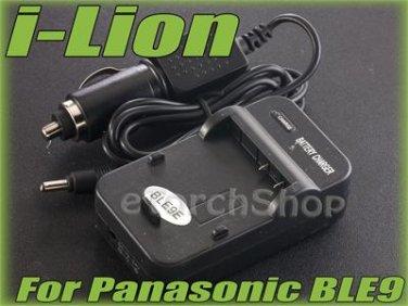 i-Lion DMW-BLE9E Charger F Panasonic Battery 100-240V US Plug W Car Adapter
