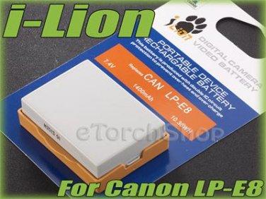 i-Lion LP-E8 1400 mAh 7.4V Battery Japan Cells For Canon EOS 600D 650D Kiss T4i