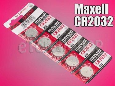 5 Pieces Maxell CR2032 CR 2032 Lithium 3 Volt 3 V Battery for Calculator