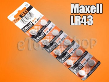 10 Pcs Maxell LR43 AG12 Alkaline 1.5 Volt 1.5 V Battery