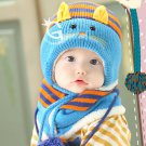 Baby Kids Cute Stripe Cat Style Hat With Scarf 6-48 Months Toddler MZ2253 OB