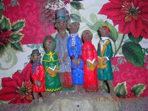 Resin Christmas Carol Singing Meerkats, Price Includes S&H
