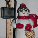 Snowman Hand Painted Earthenware Tea Light Holder by Debbie Mumm, Price Includes S&H
