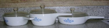Set of Corning Ware Cornflower Blue Sauce Pans and Skillet, Price Includes S&H