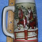 1984 Budweiser Holiday Beer Stein w/Clydesdales by Ceramarte, Price Includes S&H