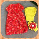 Newborn Dress, Diaper Cover and Headband Set