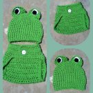 Frog Diaper Cover and Hat Set