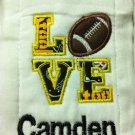 LOVE Football Burp Cloth