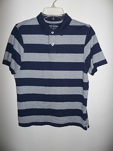 Arizona, Boys Blue and Gray Striped Polo Style Shirt, Size L