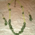 Green Beaded Necklace & Earring Set