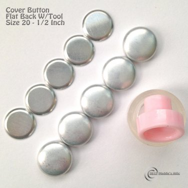 10 Flat Back Cover Buttons Kit with Assembly Tool - Size 20 (1/2 inch)