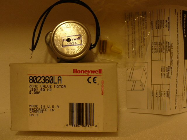 Zone Valve Motor, Honeywell 802360LA 120v for  V4043, V4044 zone valves