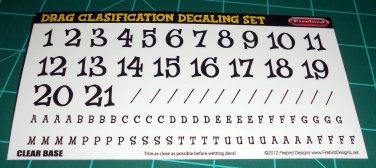 Drag Classification Decal Set Black