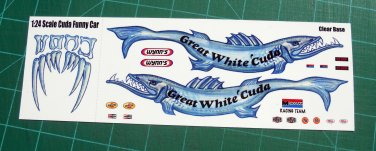 Great White Cuda Funny Car Decal Set 1:24