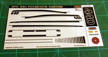 1971 Plymouth Duster 440 Decal Set 1:25