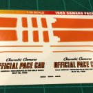 1969 Camaro Pace Car Decal Set 1:32 Scale