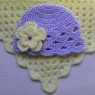 Crochet Baby Blanket and Baby Hat Set
