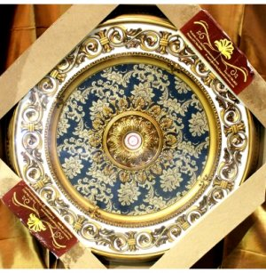 """Green with Gold Ceiling Medallion 63"""""""