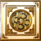 47&quot;x47&quot; Green with Gold Floral Square Ceiling Medallion