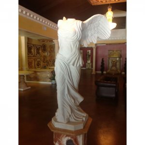 "Winged Victory White Marble Statue 67"" + 24"" Base"
