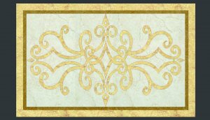 "Decor Waterjet Cut Marble Floor/Wall Medallion 66""x42"" Granite Back"